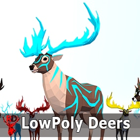Low Poly Deer pack with 1 texture and 42 IP/RM animations.