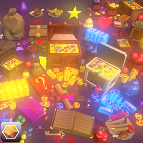 Stylized Low Poly Fantasy Loots Pack for your adventure game, ready to use for your next game!