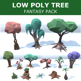 Low poly tree pack, 15 differents trees & plants