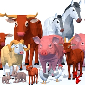 LowPoly Farm Animals pack with 6 species of animals and 2 birds. Each animal has 40+ animations.