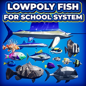 Add 15 Poly-style fish to your Ocean Environments - Compatible with the Fish School Systems 1 & 2!