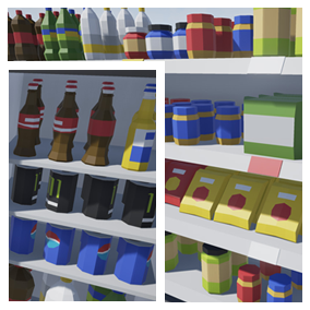 Asset composed by different kind of food like fruits, vegetables, sandwiches, desserts, and snacks and drinks to use in your video game (127 objects). Different Textures have been included to create 158 variations.