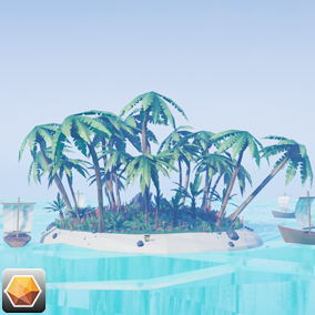 Beautiful Low Poly Island Landscape environment.!