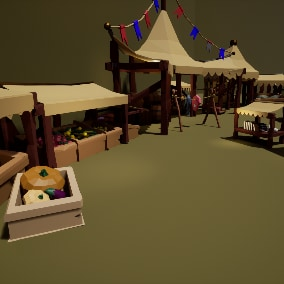 Stylised medieval market props, to upgrade or build low poly village !