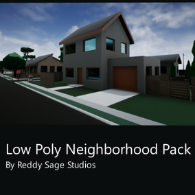 A low poly neighborhood content pack