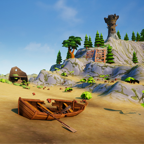 Hand painted, Stylized environment full of ships and weapons and props