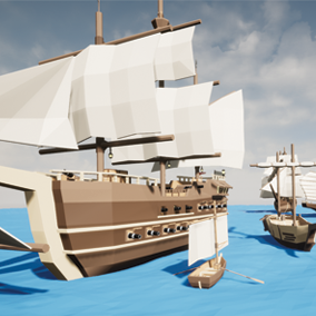 A low poly asset pack of ships to complete your low poly world game. Over 53 meshes (10 different ships).