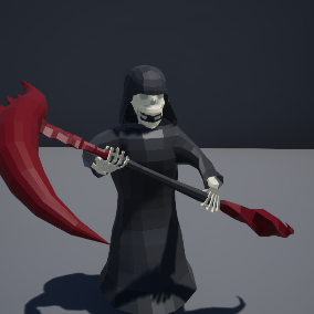 Lowpoly Skeleton with robe and scythe