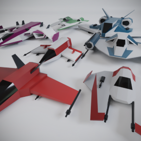 Seven low poly stylized space ships with flying system and full color customization!