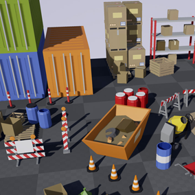 Asset with a low poly style composed of different construction and storage objects, traffic lights and signals and different kind of garbage, which you can use in your video game in locations like cities. Includes 148 variations.
