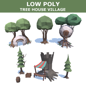 3D low poly tree house village, includes 16 meshes.