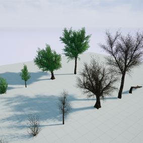 Dead and live trees and bushes with vertex animated leaf and branches.