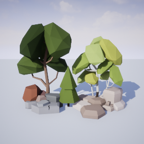 Contains 38 stylized low poly trees and 24 rocks with multiple color schemes.