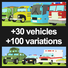 This pack contains different city service vehicles like police/firefighters/ambulances/military vehicles, transport services vehicles like taxis/buses or different trucks for transporting construction material or the city garbage.