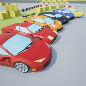 Assets with a low poly style composed of 6 different drivable cars, which you can use in your video game. Different textures have been included to create 36 variations.