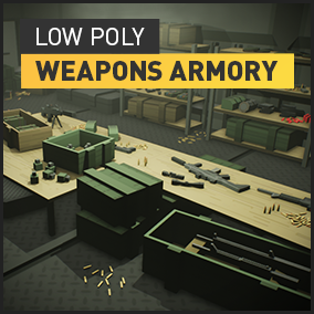 Low poly military weapons asset pack with a modular attachment system, containers and supplementary armory props.