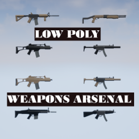 19 low poly, game ready, military weapons, each with regular and desert skins.