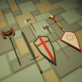 Low Poly - weapons for knight, barbarian and cleric