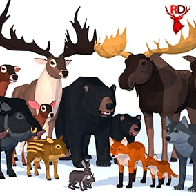 LowPoly Wild Animals pack with 7 species of animals with babies. Each animal has 40+ animations.