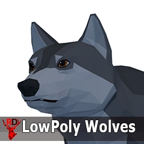 Low Poly Wolves pack with 1 texture and 51 IP/RM animations.