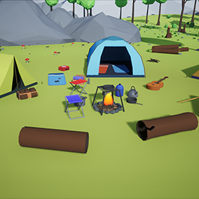 Stylized pack of lowpoly plants, trees, rocks, and camping stuff