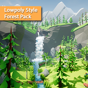 Build your own forest level with this asset pack or use the big demo scene featuring a hidden forest with a ravine, a waterfall, and a cave!