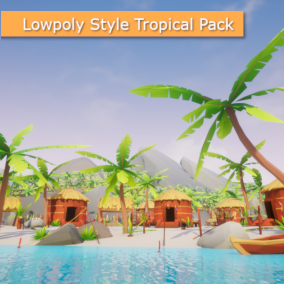 Build your own tropical islands with this asset pack or use the big demo scene featuring a couple of beaches, a jungle, and a tropical fishing village on the island.