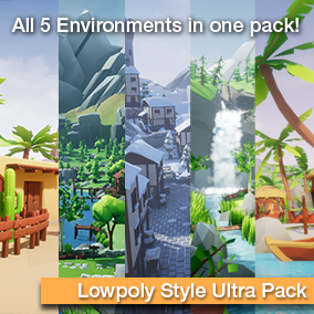 All 5 environments in on pack! Create stylized desert, woodland, tropical, forest and winter environments with a unique lowpoly look!