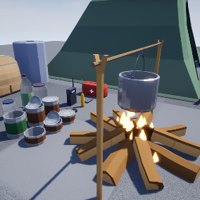 The kit contains low-poly models for camping, perfect for survival.