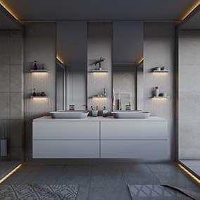 Realistic architectural visualization of a luxury bathroom.
