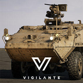 The 8-wheeled M1126 Stryker Infantry Carrier Vehicle comes with Desert and Forest textures, is fully rigged, has animated wheels, hatches, and M2 .50 cal. turret.  This vehicle is DIS/HLA (RPR FOM) Integration ready. Designed for simulations.