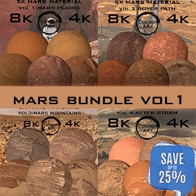 Mars material Bundle for all platforms. All Textures have their own 8K,4K,2K and 1K version and ready for every kind of project.