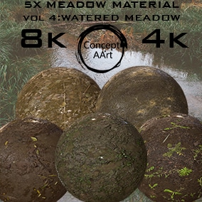 5 Super Realistic Watered Meadow  Materials for all platforms. All Textures have their own 8K,4K,2K and 1K version and ready for every kind of project.