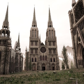 This pack can create medieval cathedral, church that your character can actually walk in and even enter dungeon.