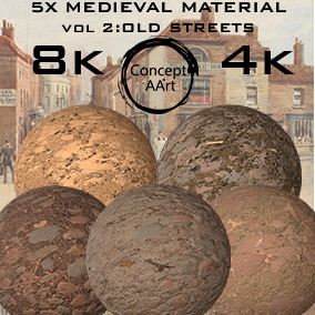 5 Super Realistic Medieval Street Materials for all platforms. All Textures have their own 8K,4K,2K and 1K version and ready for every kind of project.