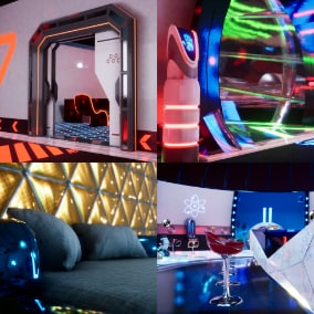 This is a game-ready modular futuristic sci-fi Space Hotel package which consists of interior props and decals.