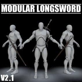 Create more than 2500 unique swords with this ultimate Modular Longsword package!