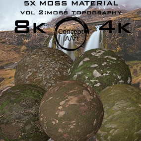 5 Super Realistic Moss Materials for all platforms. All Textures have their own 8K, 4K, 2K, and 1K versions.