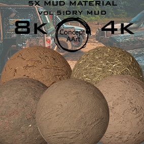 5 Super Realistic Dry Mud Materials for all platforms. All Textures have their own 8K,4K,2K and 1K version and ready for every kind of project.