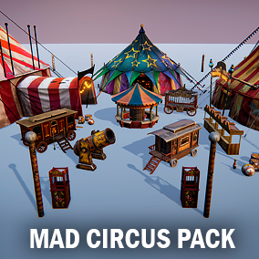 This package contain several props for your circus scene.