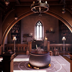 Interior room of a Mage/Wizard's study with cauldron, books, alchemist apparatus and a tome.