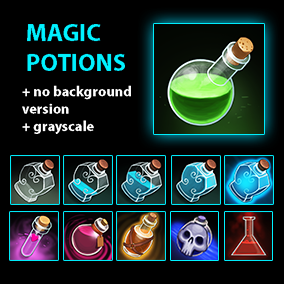 60+ hand-painted potions and bottles