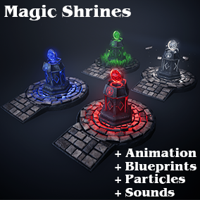 A Set of ready to use animated Magic Shrines -Earth, Wind, Fire and Water- including 7 Particles and a different Sound for every Shrine. The Shrines are placed with a Blueprint so everything is already set up or can easily be changed.
