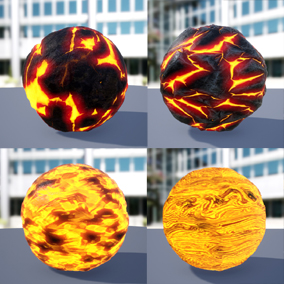 The package consists of 7 different kinds of magma. Materials have a Texture map (Emissive, Base Color, Normal, Roughness, Height, and Ambient Occlusion).