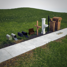 A mini pack consisting of 6 high quality mailboxes ready for gameplay or architectural visualization presentations.