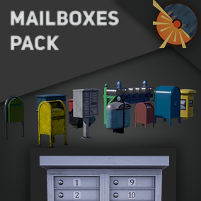 12 3D models of mail boxes with PBR textures and the ability to change colors and adjust dirt level