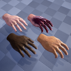 A set of Hands with 4 material instances ready for customizing. Able to incorporate your own tattoos and blood spats or even dirt and also change the tones and colors of the nails and skin.
