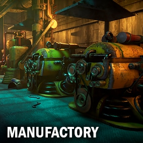 Here you can find set of abandoned industrial machines, two elevators and small details.