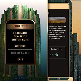 Flexible marble and gold Art Deco themed UI with both pre-cut and assembled UI elements to fit your needs.