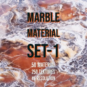 Marble Material Set-1 includes 50 different marble materials and 4K PBR  Textures